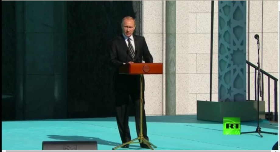 Putin at the Opening of the Great Moasque in Russia