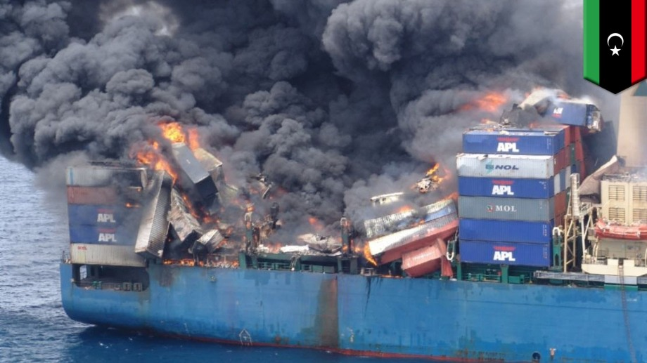 Turkish Ship bombed by Libyan Airforce