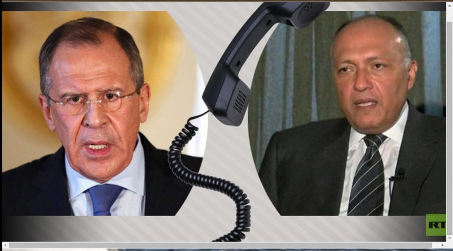 Russian Foreign Minister Sergei Lavrov with his Egyptian counterpart, Sameh Shoukry