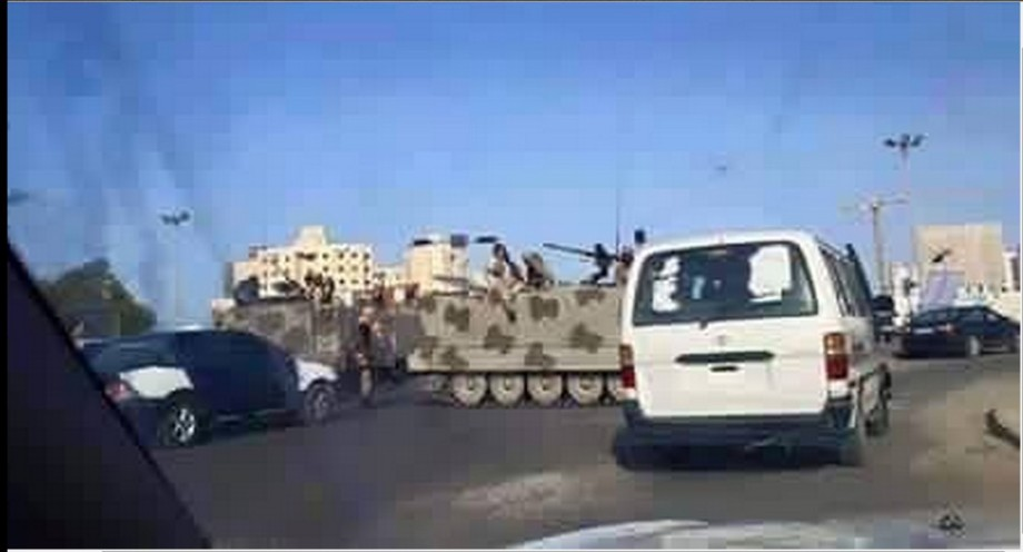 Gneoh militias running to the Airport Gates hoping to stop the Brotherhood MISURATA MILITIAS