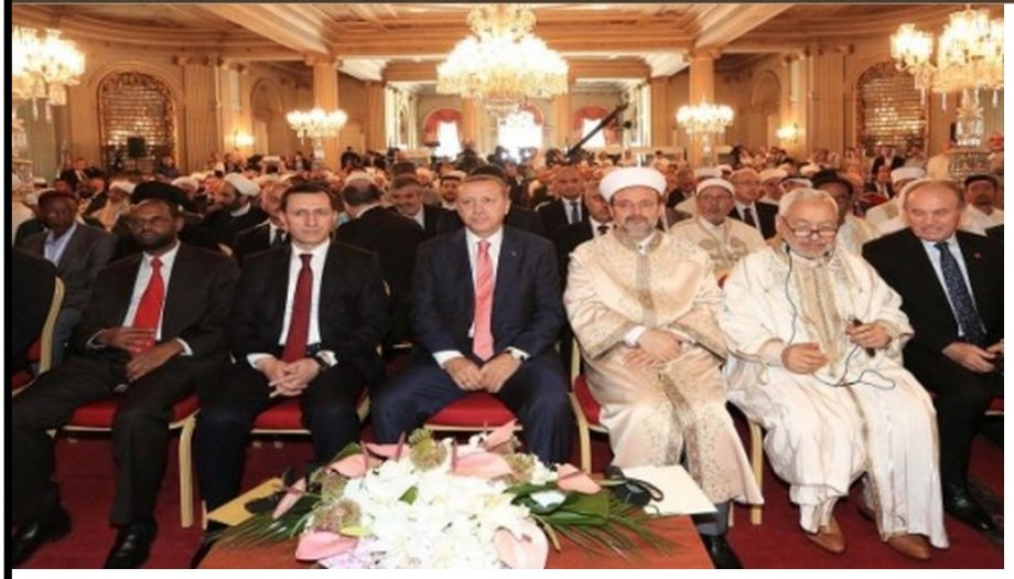 top escalons of the 'muslim' BROTHERHOOD, led by Erdogen in Turkey...see Mohammed Baio in the back (with black streak)