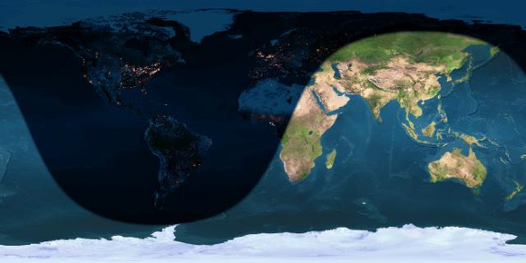 Day and night sides of Earth on the December 2015 solstice