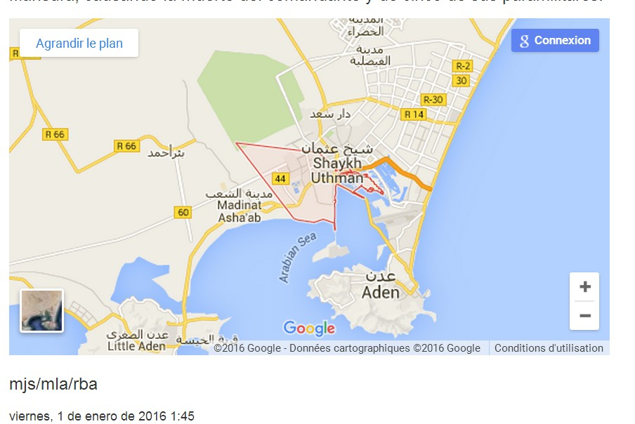 google map of Aden, southern Yemen