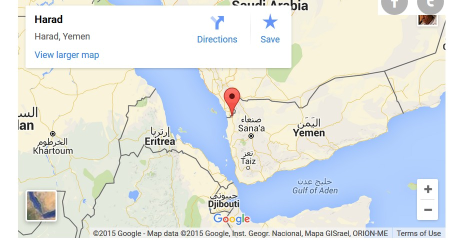 Google Map of Harad, Yemen