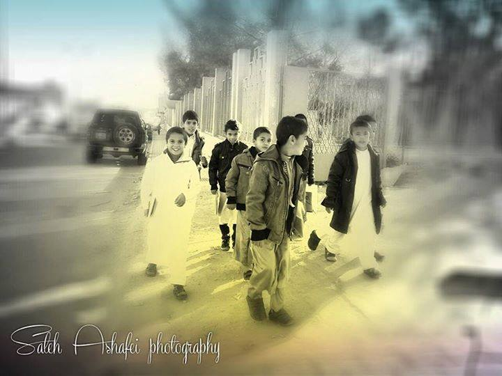 Holy Qur'an students, on their way to the mosque in Zintan