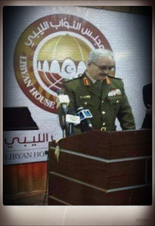Khalifa Hftar and the Hua 'sworn-in', in front of the 'MAJLIS al-Nuwaab', as Lt. commander in chief of the Libyan Army