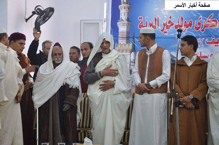 Sheikh Muhammad al-Madani Mark al-Chuirv' participates in the celebration of the birth of Prophet Mohammad (PBUH) inside the lighthouse at Asmari