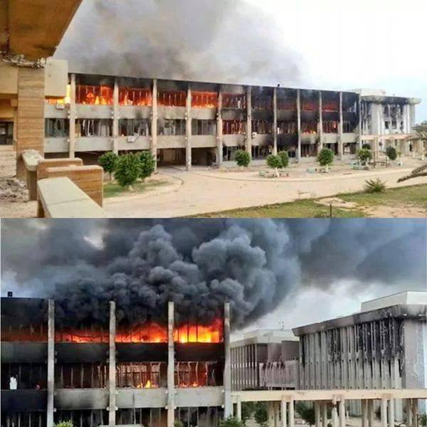 'University of Benghazi' in Garyounes is burned