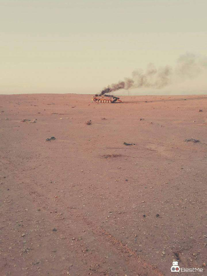 BMB armored type belonging to the Kharijites have been targeted by the 'Oil Guard facilities' in the valley Akahilh