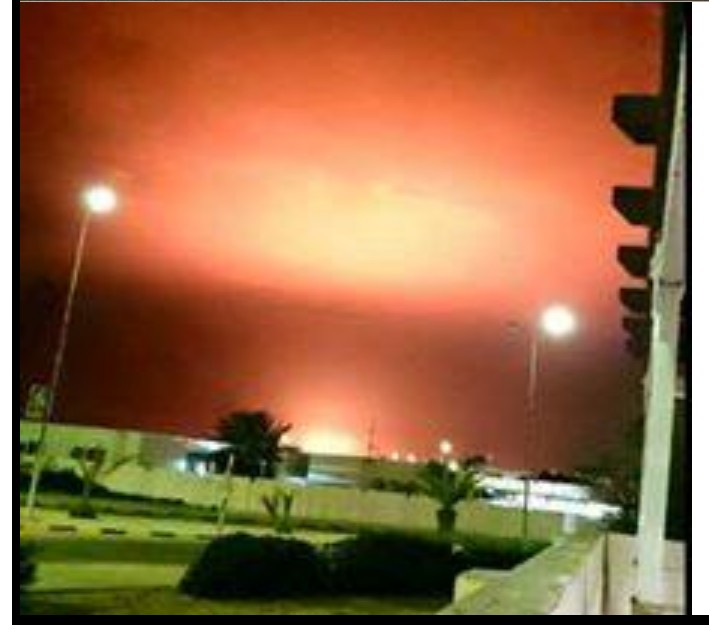 flames bursting at Port Sidra tanks