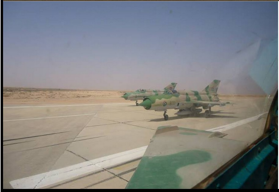 LIBYAN airforce jets MIG-21s on RAS LANAUF military airforce runway