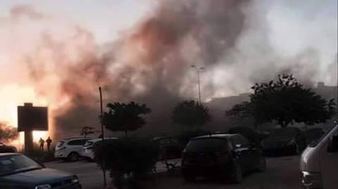 mortar shells fall by Libyan Hospital, Benghazi, 1